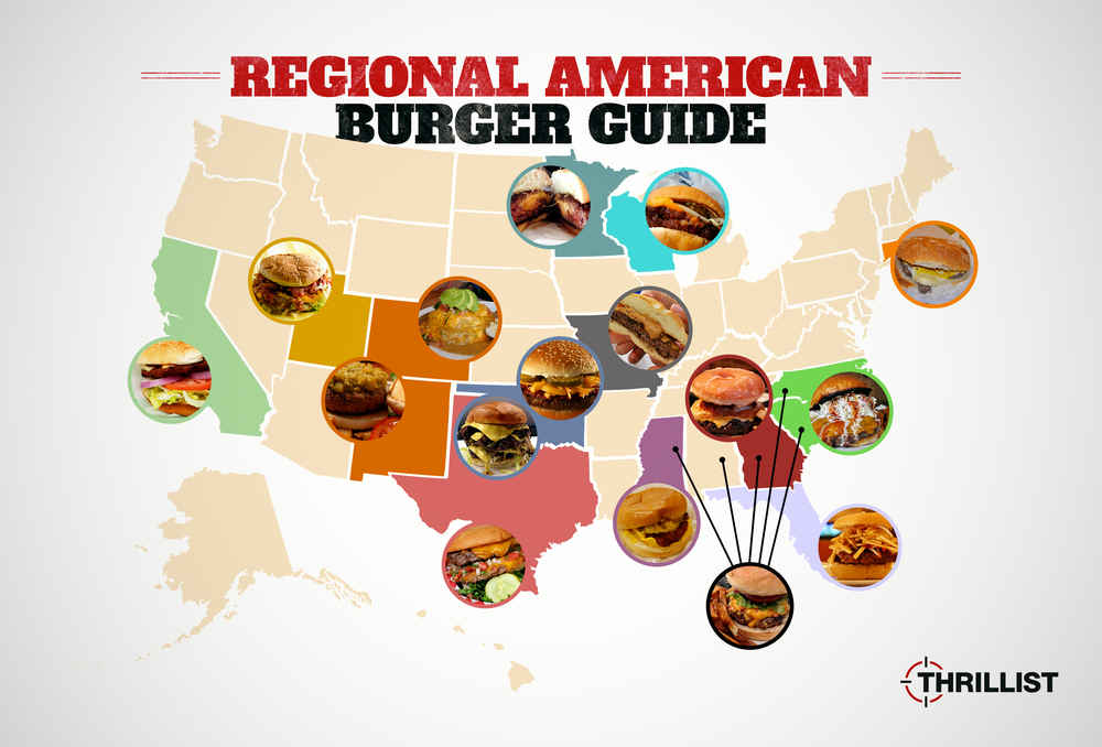 Regional American Burgers Juicy Lucy Butter Burger And More - Burger map us