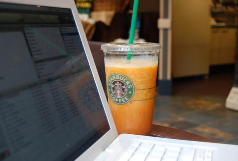 Laptop in Starbucks