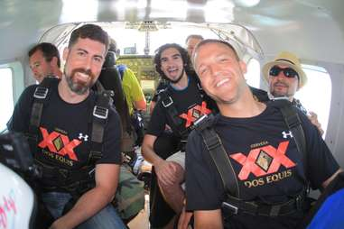 Group photo on plane