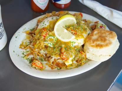 Amazing Creole breakfast food at Slim Goodies Diner in New Orleans