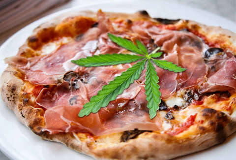 Pizza with pot leaf