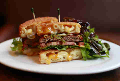 Fried mac 'n cheese bun burger