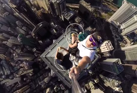 Insane students take insane selfie atop Hong Kong skyscraper