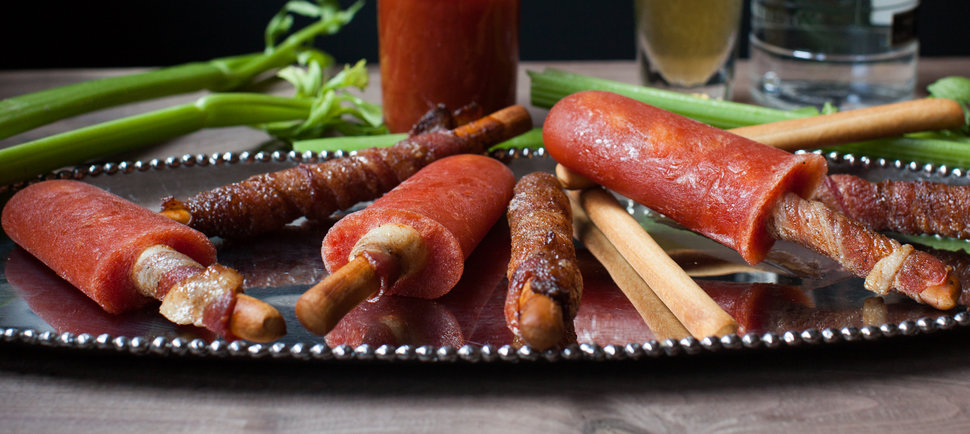 Bacon-Infused Bloody Mary Popsicles With Bacon Sticks, \'Cause Screw It