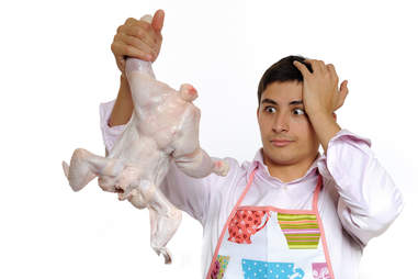 Guy confused with poultry