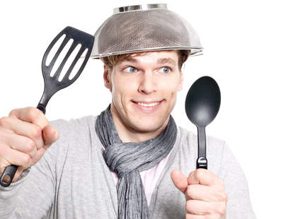 Guy with colander on head