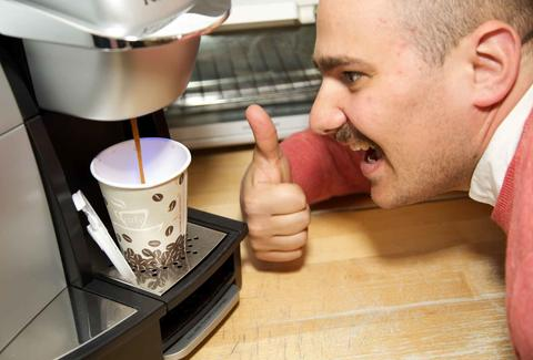Guy excited about coffee