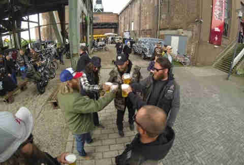 bikers cheersing