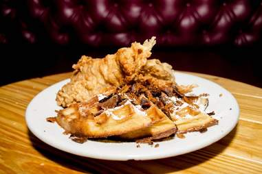 Chicken and waffles at Kush Wynwood Miami
