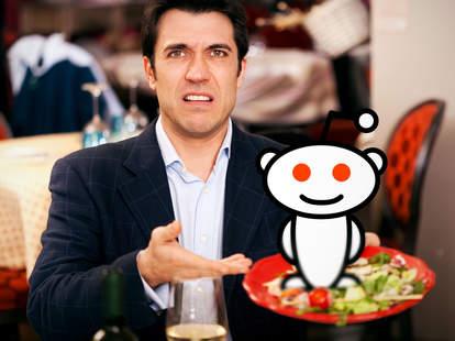 Rude restaurant customer with Reddit mascot