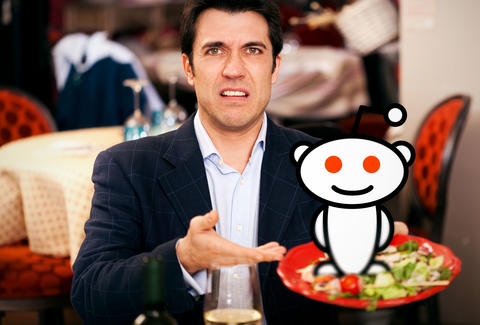 Rude restaurant customer with Reddit mascot