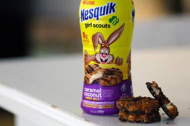 nesquik samoa caramel delite cookie milk