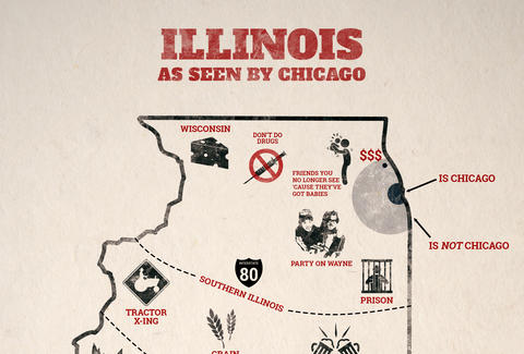 Map How Chicago Sees The Rest Of Illinois - Thrillist