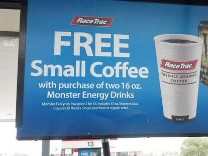 Gas station coffee and energy drink deal