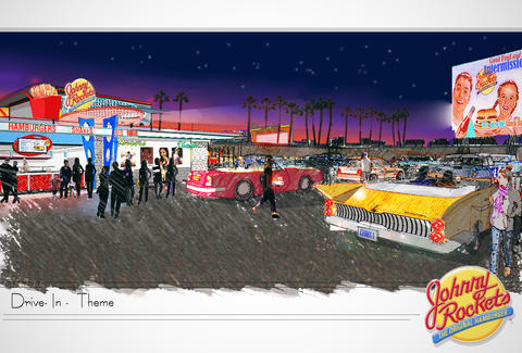 Johnny Rockets drive-in movie theater sketch
