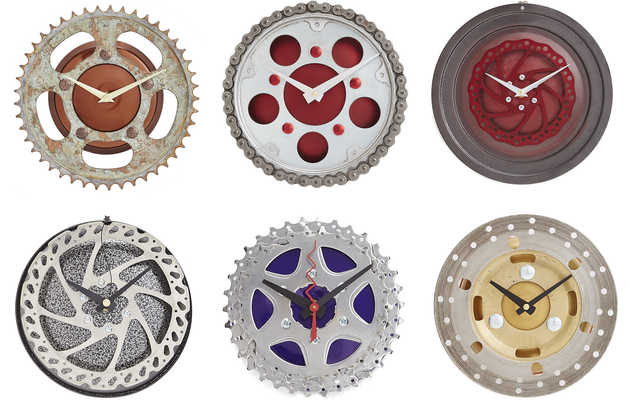 These one-of-a-kind clocks are made from old bike parts
