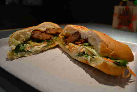Banh Shop grilled pork meatball sandwich