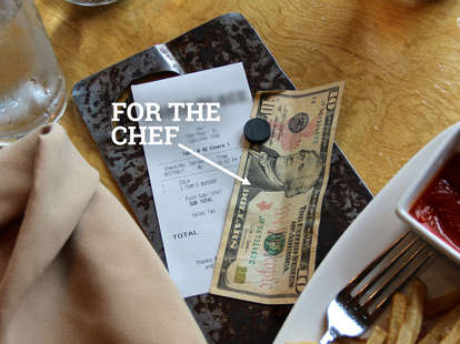 tip on a receipt
