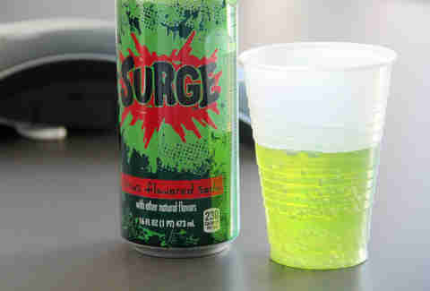 surge soda in a cup