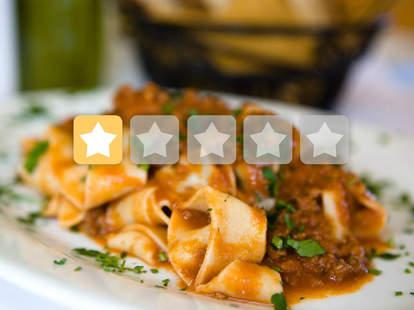 Botto Bistro one-star Yelp rating