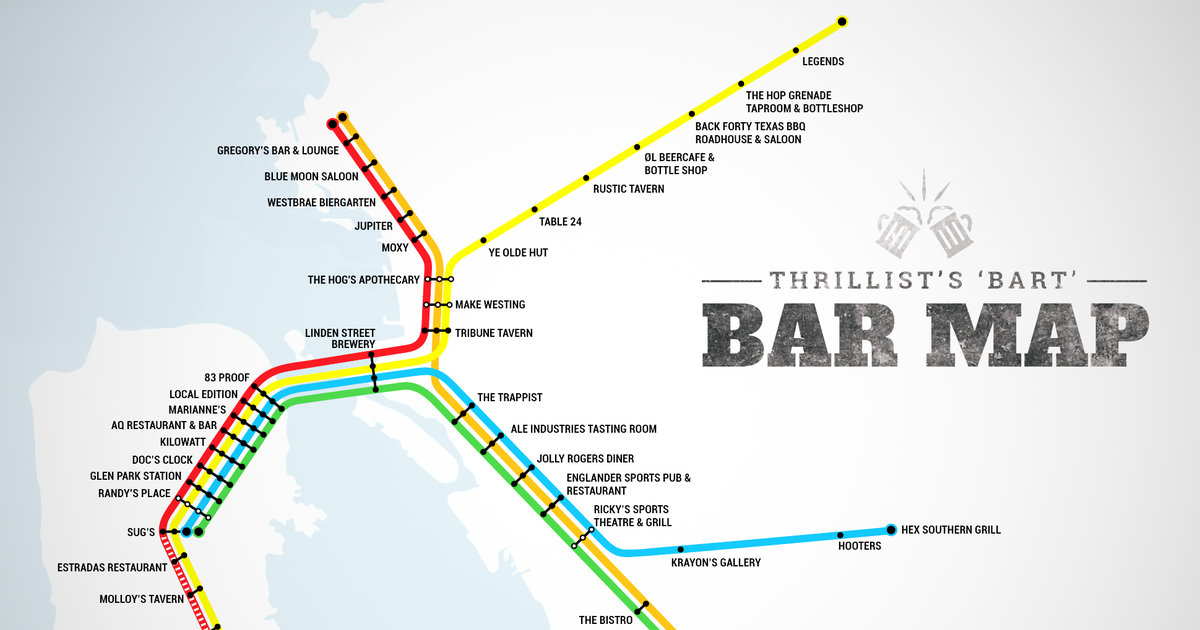 Oakland Subway Map.Best Bars Near Every Bart Stop Sf Oakland Bay Area Thrillist