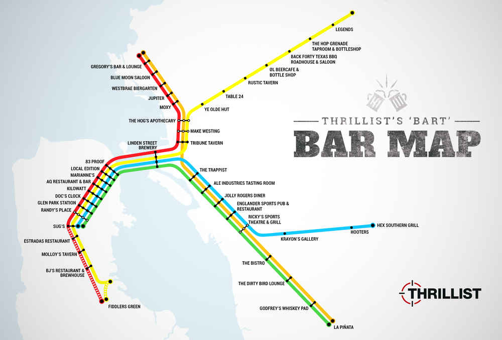 Best Bars Near Every BART Stop - SF Oakland Bay Area - Thrillist Downtown Nashville Nightlife Map on