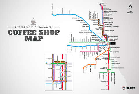The best coffee shops in chicago near every cta stop thrillist chicago coffee map malvernweather Gallery