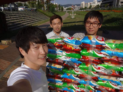 south korean students with chip rafts