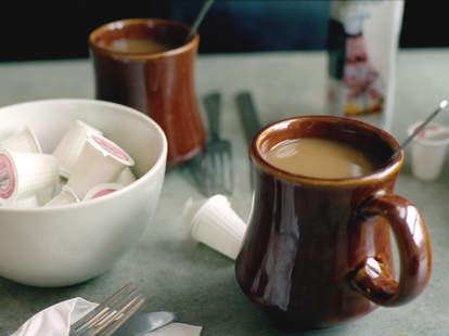 coffee mugs on table