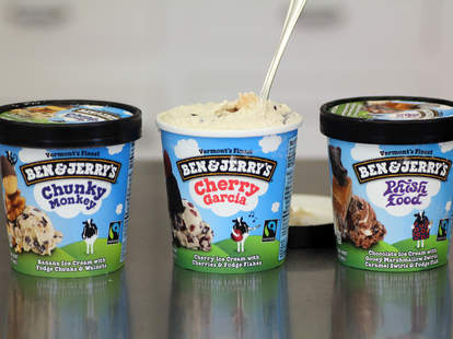 Ben & Jerry's pints of Chunky Money, Cherry Garcia, Phish Food