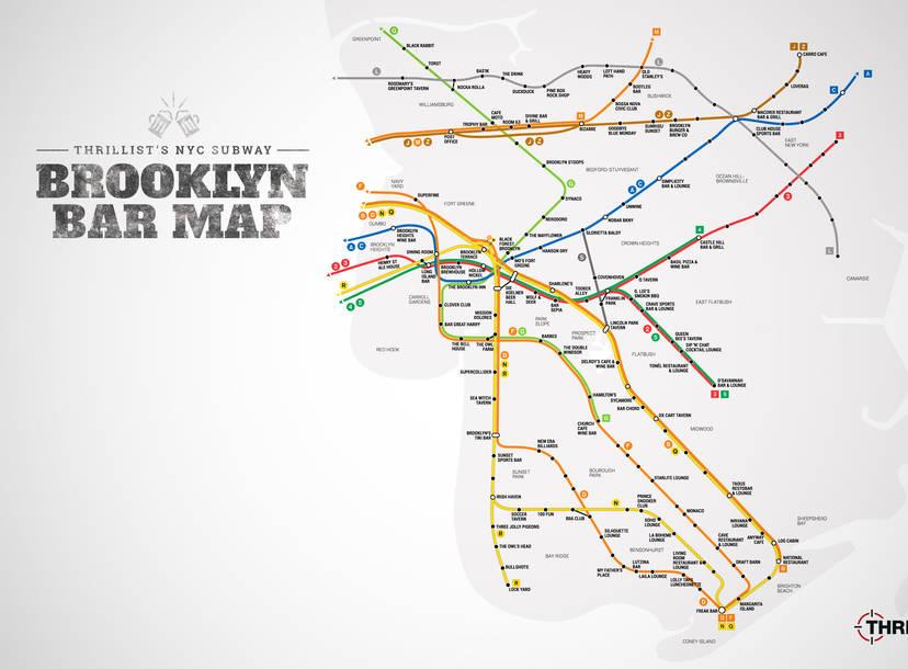 Brooklyn Map With Subway.Best Brooklyn Bars Nyc Subway Map Thrillist