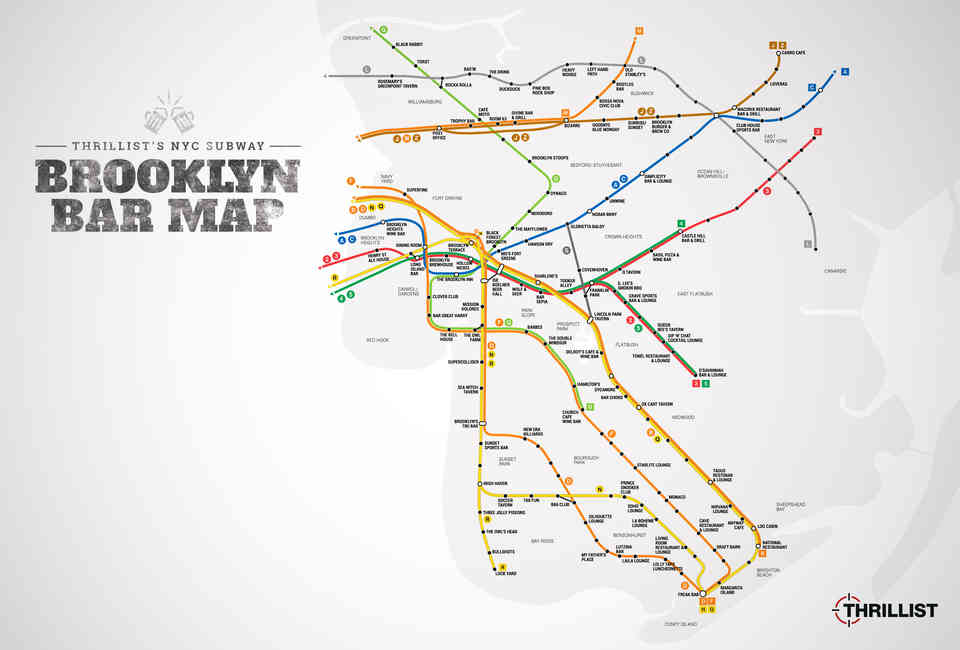 D Train To Coney Island Subway Map.Best Brooklyn Bars Nyc Subway Map Thrillist