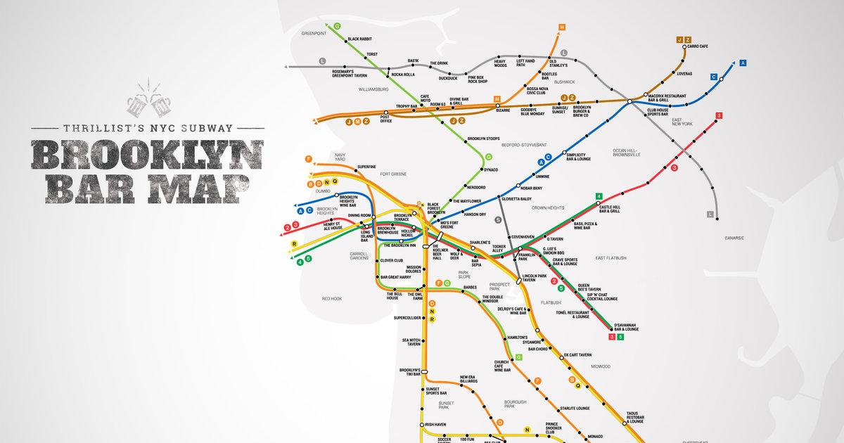 Subway Map F Train Brooklyn.Best Brooklyn Bars Nyc Subway Map Thrillist