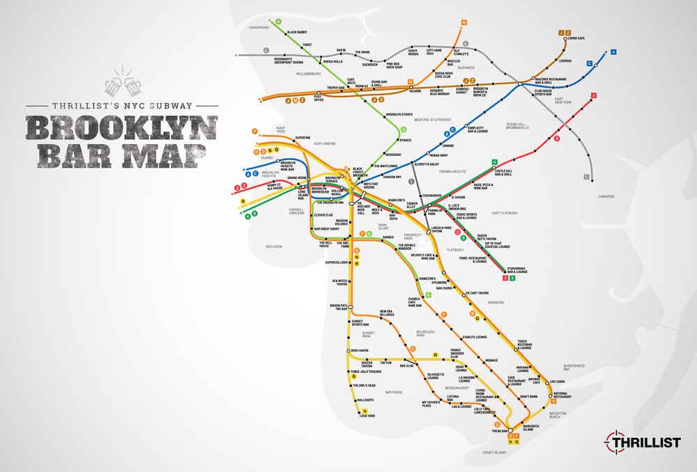 Greenpoint Brooklyn Subway Map.Best Brooklyn Bars Nyc Subway Map Thrillist