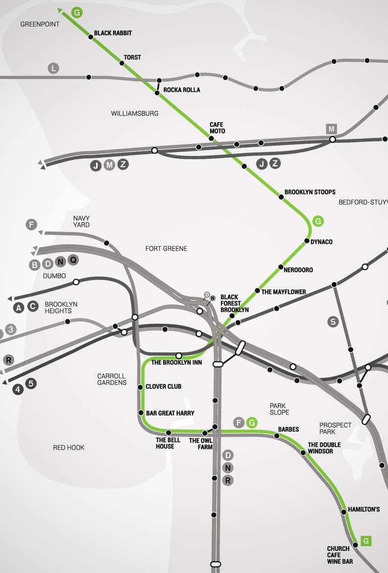 G Brooklyn Bar Subway Map