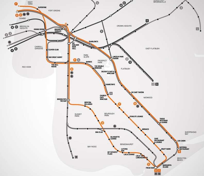 BDF Brooklyn Bar Subway Map