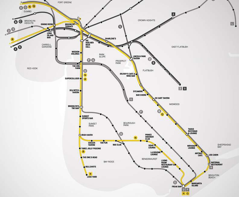 NQR Brooklyn Bar Subway Map