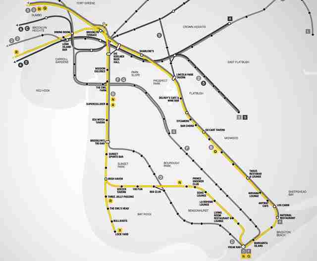 L Subway Map.Best Brooklyn Bars Nyc Subway Map Thrillist