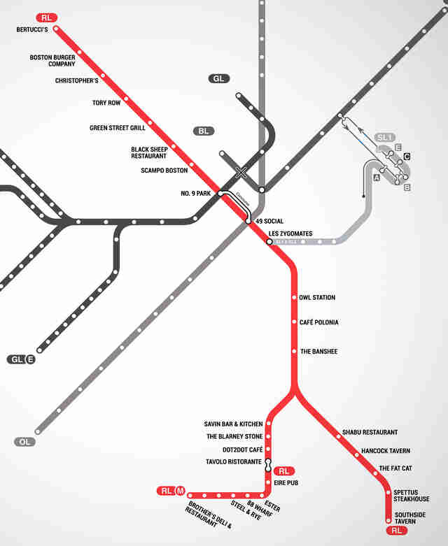 Map of Restaurants Near Boston T Stops - MBTA restaurant guide ...