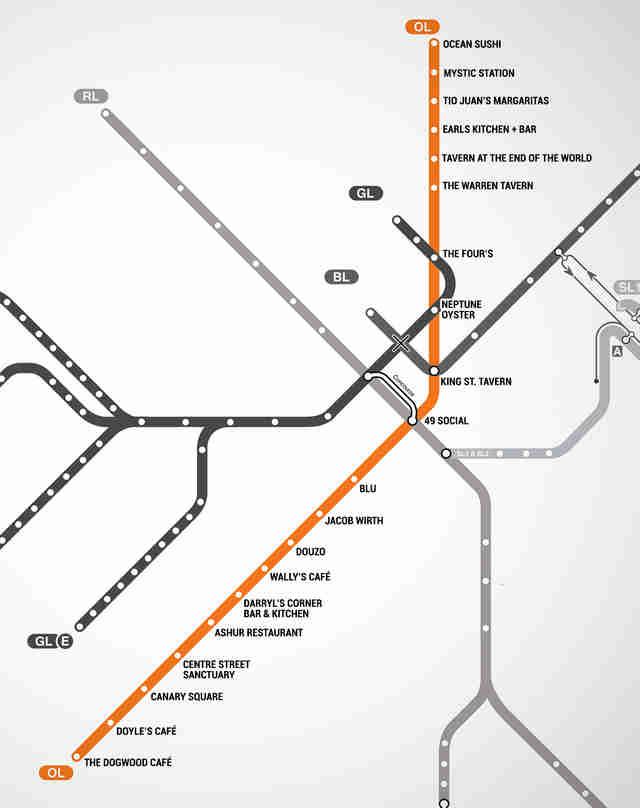 Map of Restaurants Near Boston T Stops   MBTA restaurant guide