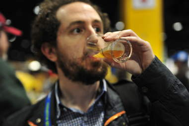guy drinking beer at Great American Beer Festival