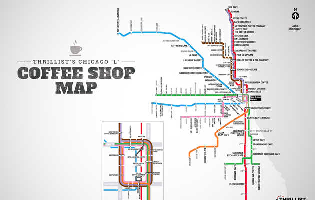 "We made a Chicago ""L"" coffee map. Enjoy."