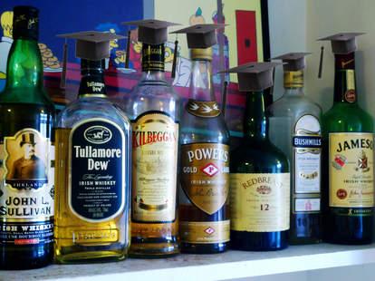 Irish whiskies with graduation caps