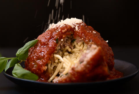 Spaghetti-stuffed Meatball — Thrillist Recipes