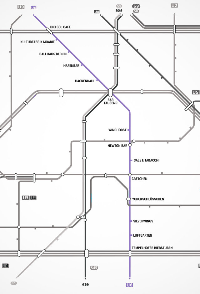 Berlin u bahn map map with bars near every stop for Sale e tabacchi berlin