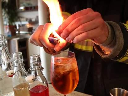 Firefighter makes negroni