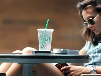 Girl reading at Starbucks