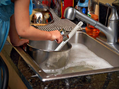 washing dishes