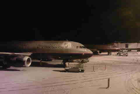 Delayed Plane in Snow