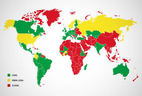 Legal Prostitution World Map Of Every Country That Has Legal - World map of countries